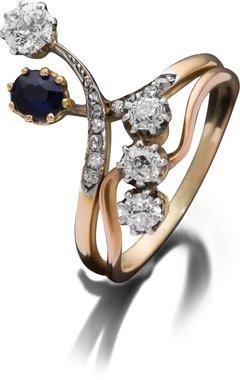''Vis-a-Vis'' Diamantring mit Saphir